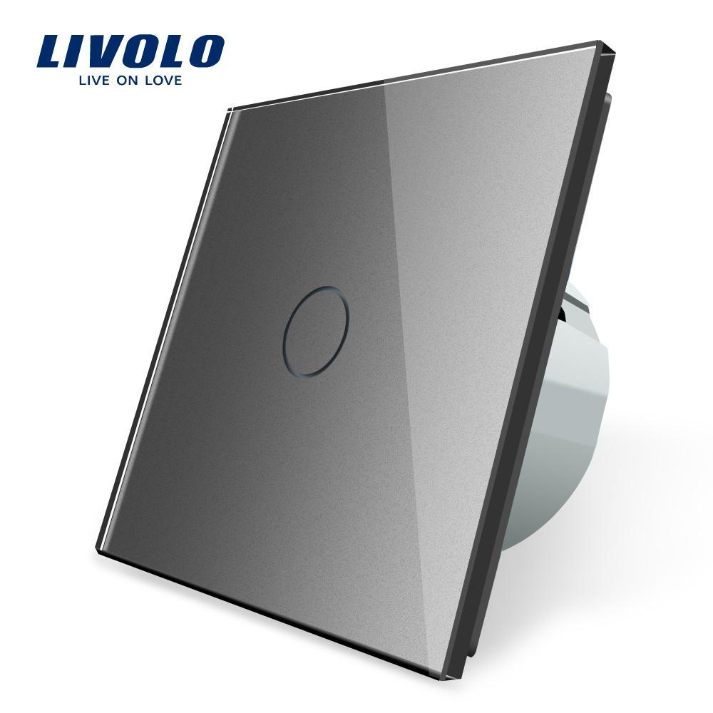Interruttore del sensore del tattile a muro di lusso di Livolo, interruttore della luce, potenza dell'interruttore, vetro di cristallo, presa di corrente, prese multifunzione, scelta libera T200605
