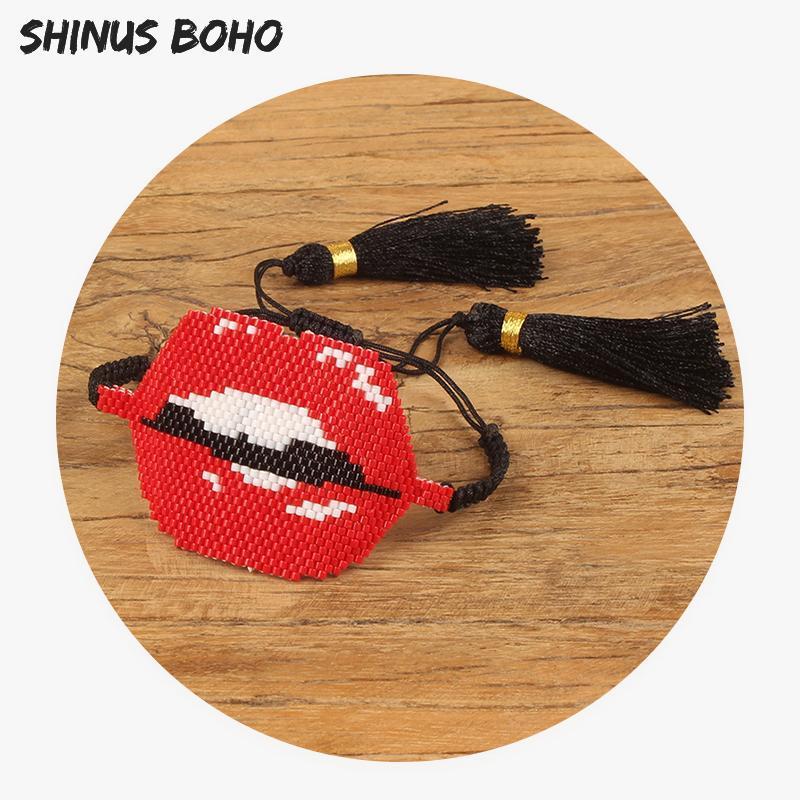 SHINUSBOHO rojo grande de labios brazaletes de las pulseras de las mujeres hechas a mano de la armadura MIYUKI Semilla joyería de perlas regalo Mujer pulsera ajustable