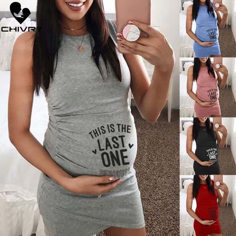 2020 Fashion Donne Delle Donne Abito maternità senza maniche Abito in gravidanza Lettera Stampa O-Collo Bodycon creativo Donne incinte Abiti1