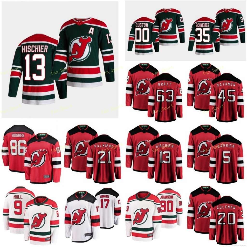 New Jersey Devils 2021 Обратная ретро Джерси Хищье Нико Хьюз Джек Маклеод Майкл Пальмиер Кайл Северсон Дэймон Пользовательские сшитые