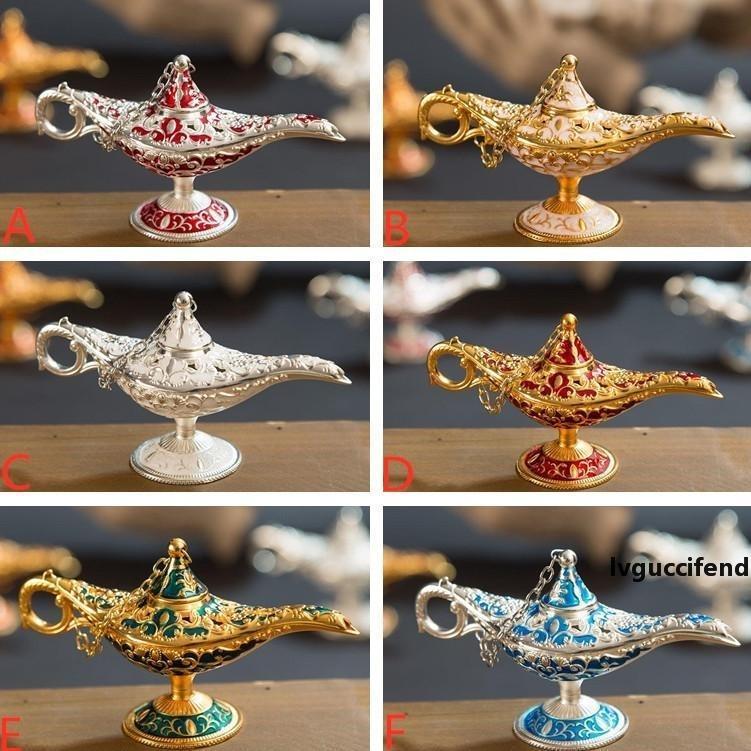 Aladdins Lámpara Mágica Incienso Quemador Vintage Censher Creativo Metal Aroma Burner Multi Color Incienso Quemadores 6 estilos