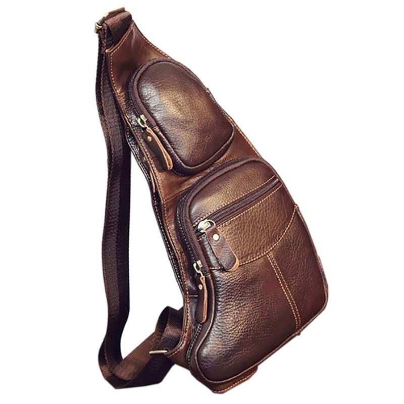 Hommes de haute qualité Hommes Véritable Cuir Cowhide Vintage Sling Back-Back Pack Pack Pack Voyage Mode Cross Messenger Sac à bandoulière Y201224