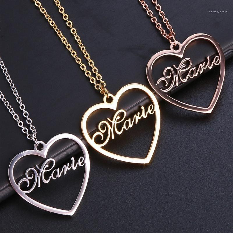 Stainless Steel Custom Necklace Name Heart Shape Pendants Necklaces Nameplate Women Kids Fashion Minimalist Jewelry1