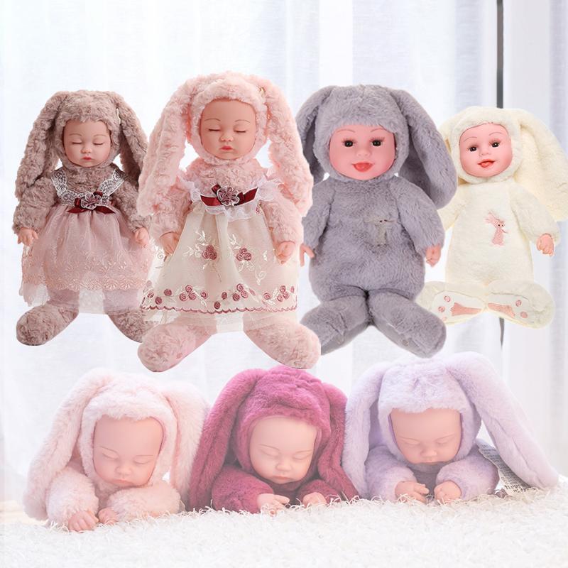 35cm 플러시 인형 장난감 긴 귀 드레스 여자에 대 한 토끼 장난감 귀여운 잠자는 웃는 아기 실리콘 다시 태어난 인형 f1211