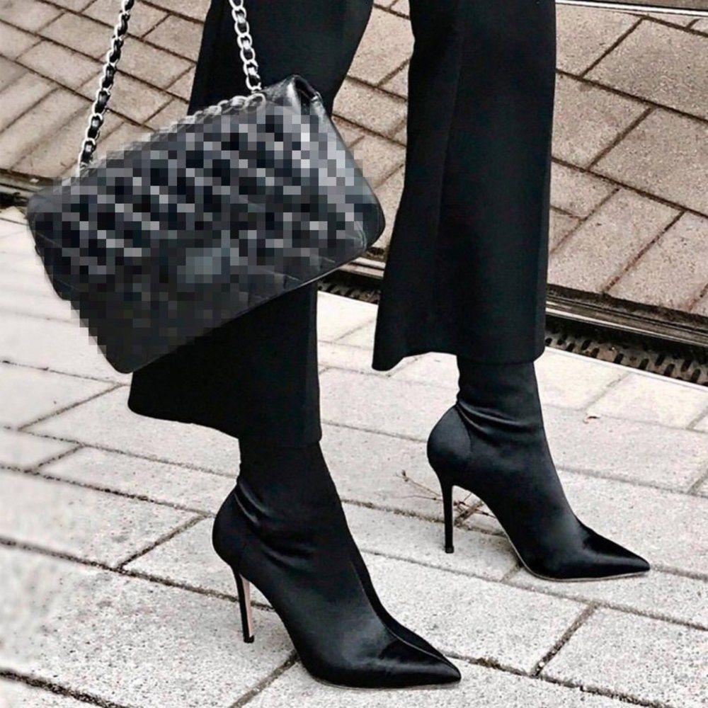 Eoeodoit عالية الخنجر الكعوب جورب أحذية النساء مثير مدبب تو أحذية ليكرا مضخات العجل ربيع الخريف بسط الجوارب زائد الحجم 42