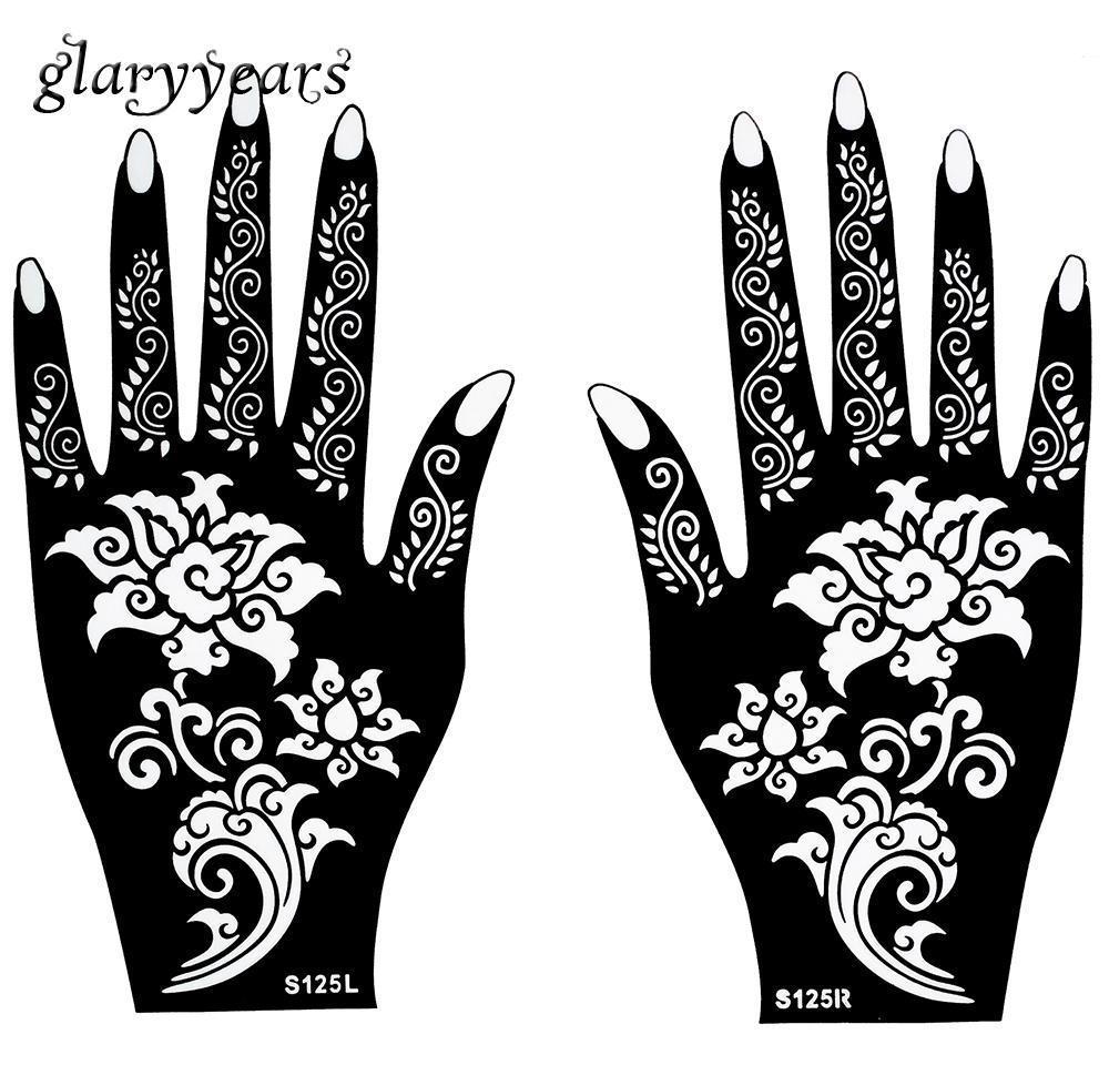 1 женская картина трафарета пара искусства 20 цветочный дизайн татуировки Аэрограф оптом-горячая хна живопись Менди красивые руки * тело для 11 см sqcew