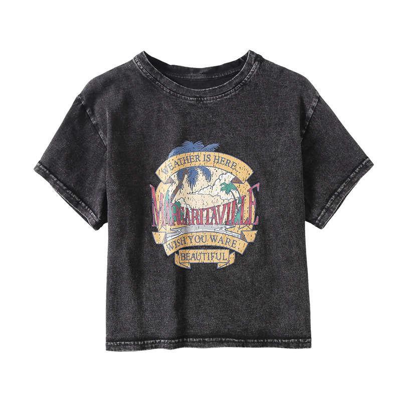 T115 coco impressão lavada e desgastada manga cintura alta t-shirt curta feminina