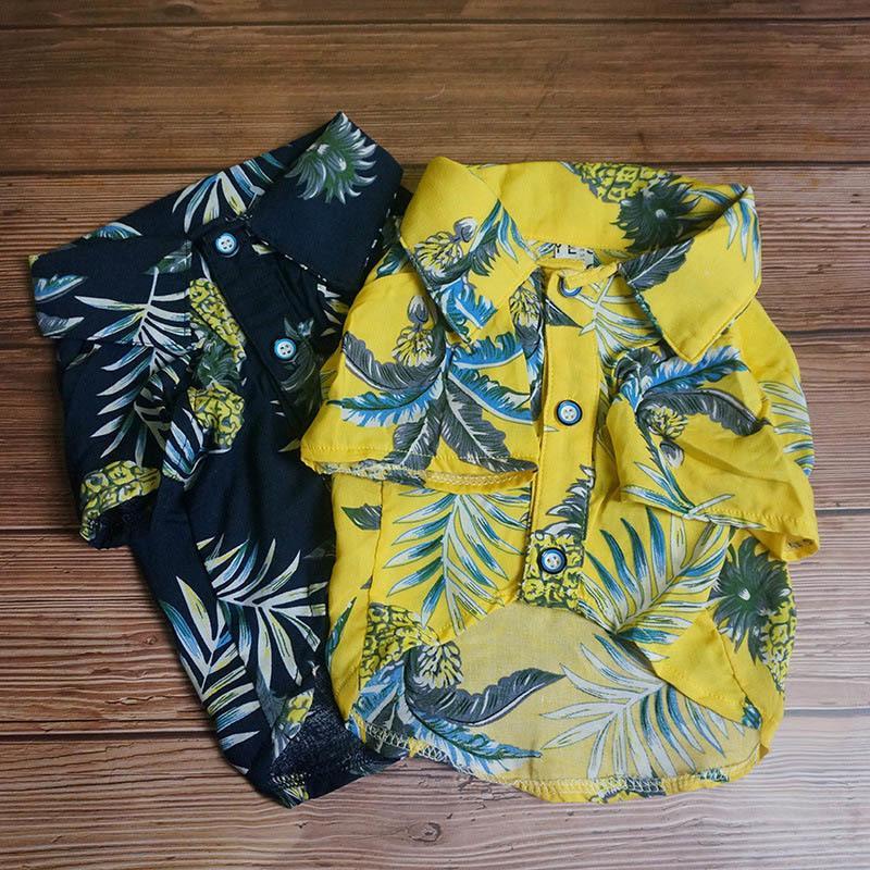 Мода домашняя собака рубашка гавайская кошка собака одежда лето домашние животные одежда для собак чихуахуа маленькая средняя собака костюм французский бульдог 201102