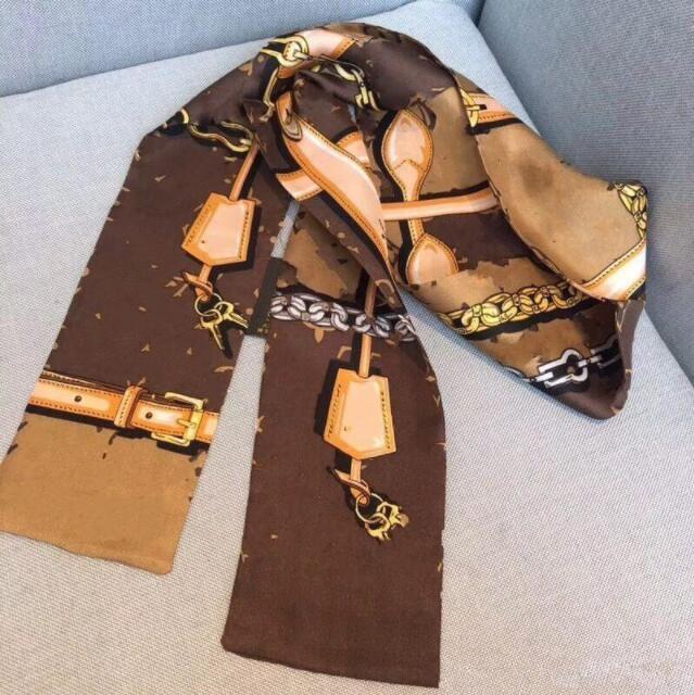 Sciarpa marrone di seta 100% 100% per le donne New Spring Design Catena Catena Style Long Ring Sciarpe Sciarpe Sciarpe Involgere con tag scialli per il miglior regalo