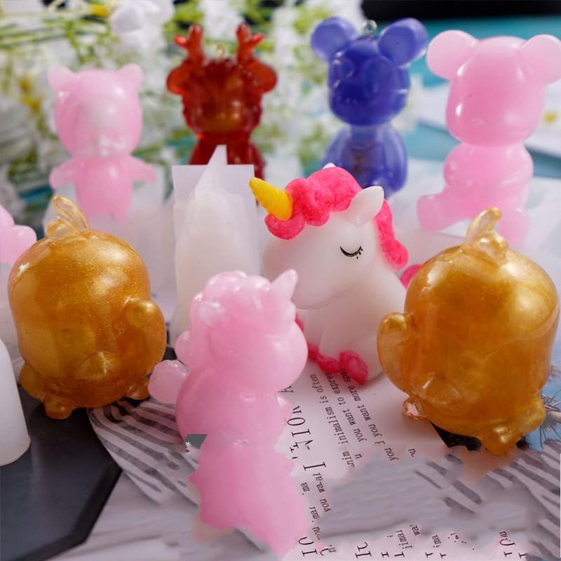 Stampi in silicone resina epossidica fai da te Colla di goccia Grue Crystal Yellow Duck Duck Unicorn Dritto Orso Specchio Specchio Stampo Decorare gli utensili artigianali 9S