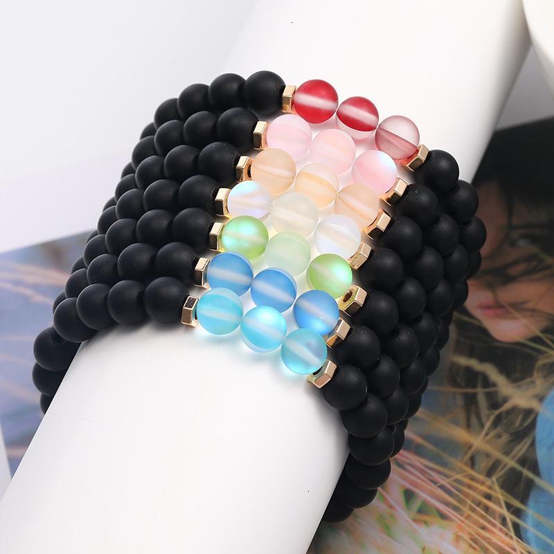 Цена на фабрике 6 мм мода дизайн флэш-кристаллический стеклянный шарик для женщин мужчины красочные естественные черные матовый агат каменный этнический