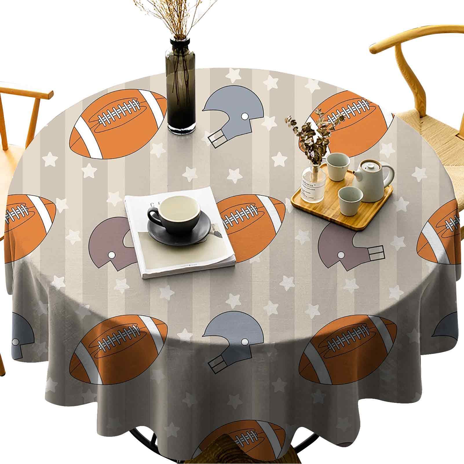 Su geçirmez / yağ geçirmez / leke dayanıklı yuvarlak masa örtüsü soluk yıldızlar ve çizgiler klasik spor sembolleri ile ABD retro karo