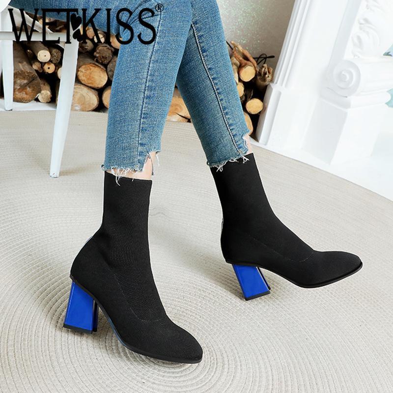 Botas Wetkiss Slip-on Women Tobillo Toe Redondo Talón alto Zapatos Partido Femenino Bootie Moda Estirar el Punto Calcetín