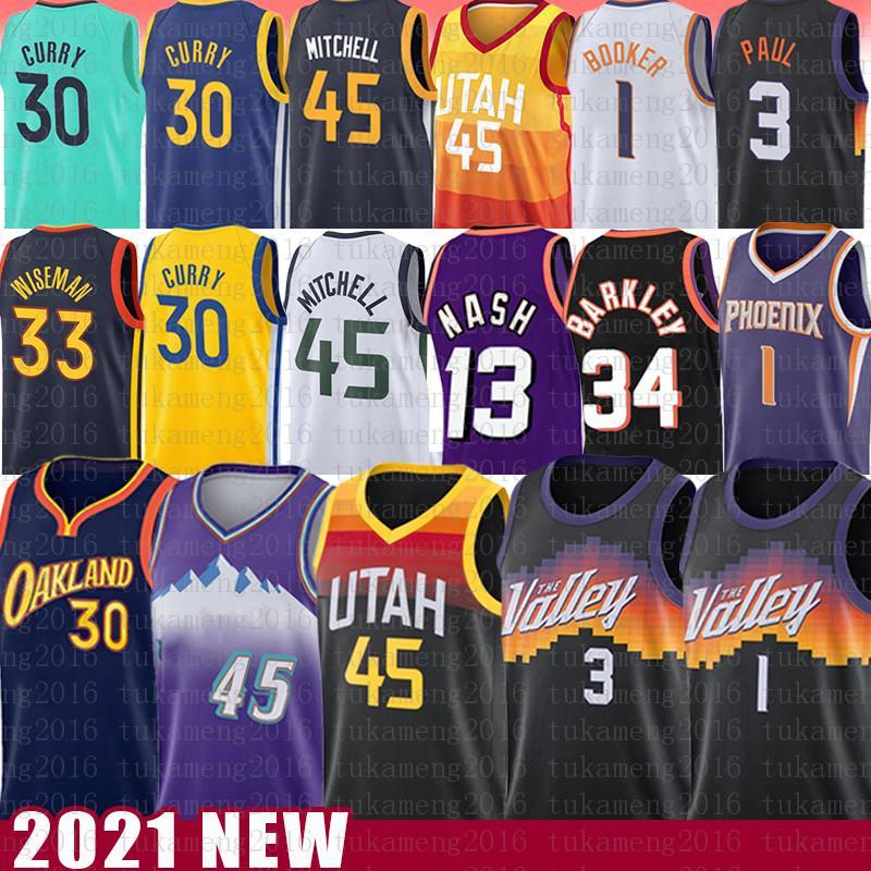Stephen 30 Curry Devin 1 Booker 33 45 45 Donovan Wiseman Mitchell Basketball Jersey 13 Chris Steve Paul Nash John Karl Stockton Malone Barkley