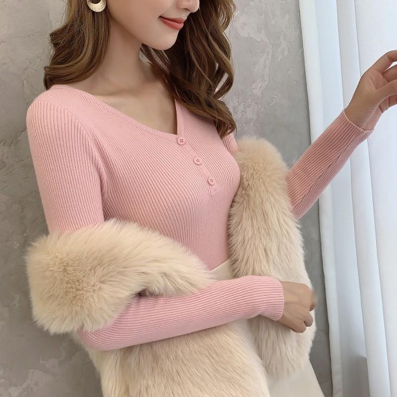 Donne Casual Solid Color Collo V-Neck Maglione Femminile Bottoming Maglioni Autunno Inverno Tops Tops Pullover