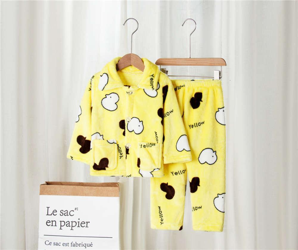 в мультфильме напечатанный кардиган детская домашняя одежда Фланалель теплый круглый шеи пижама