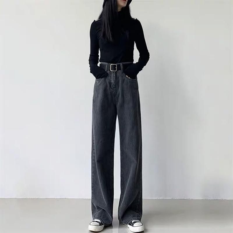 Прямые трубки черные джинсы женские осенью и зимние брюки INS модный бренд корейский высокий талию тонкий драпированный широкие брюки ног