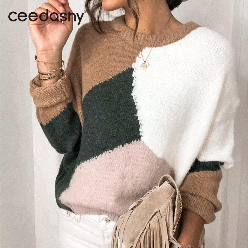 Koreanische Art Patchwork gestrickte Pullover Pullover Frauen-Winter-Art und Weise O-Ansatz langen Hülsen-Druck-Pullover warme Pullover Pullover