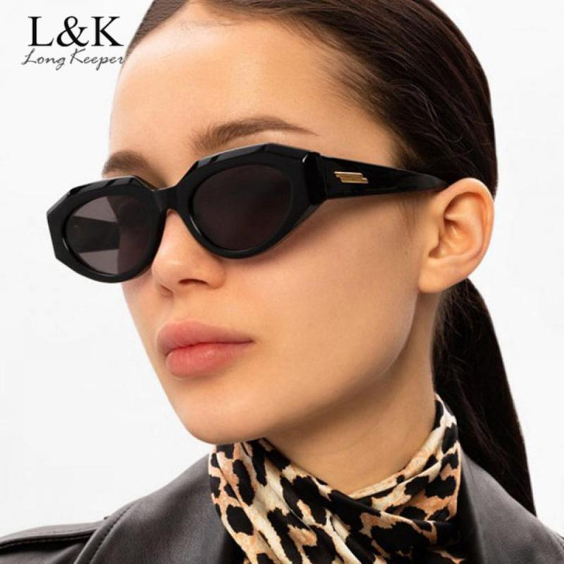 Солнцезащитные очки старинные нерегулярные кошка глаз женщины мода овальные овальные очки леопарда черный UV400 Shades1
