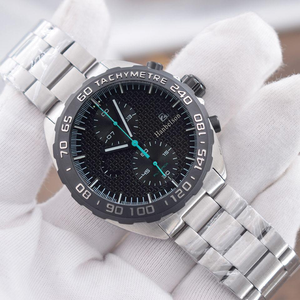 Новые мужские спортивные часы Montre de Luxe F1 наручные часы Монте-Япония Кварцевые движения Хронограф Черное лицо Orologi da Uomo di lusso