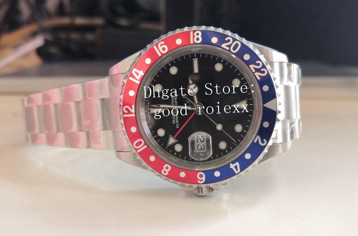 빈티지 망 블루 레드 합금 베젤 시계 남자 BP 공장 자동 2813 골동품 GMT 펩시 배트맨 16710 남자 시계 1675 레트로 손목 시계