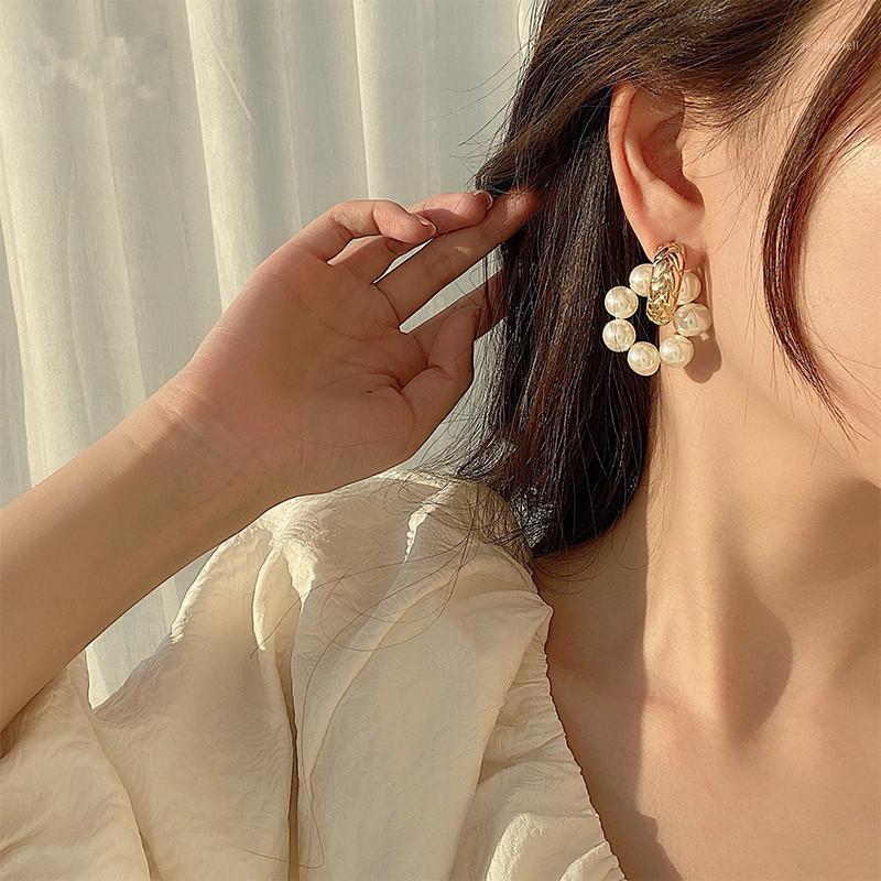 Hoop Hubgie aomu модный S925 пресноводные жемчужные серьги шикарные съемные металлические золотые круглые геометрические для женщин два носить стиль1