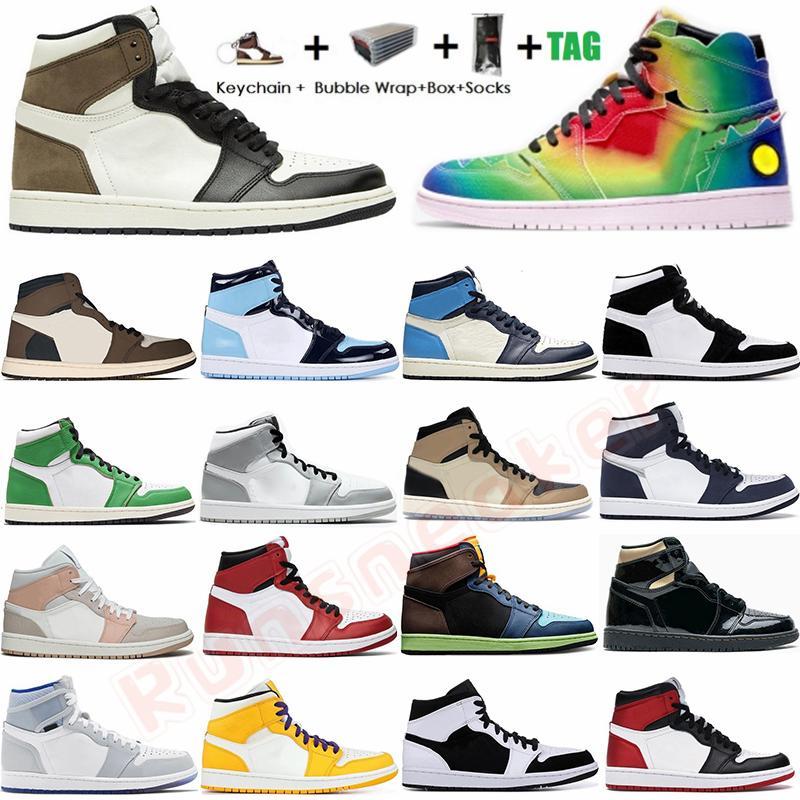 Размер 36-47 тапки с коробкой Носки Jumpman 1 1s мужские ботинки баскетбола Travis Скоттс дымковый Чикаго Obsidian UNC Грибные Спортивные тренажеры