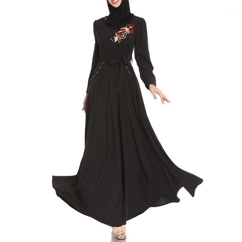 Costumi da bagno da donna Lady Musulmano Donne Nero Ricamo Allentato Allentato Manica lunga Neck Neck Festival Dress Hijab Sera Falso 2 pezzi Abbigliamento islamico1