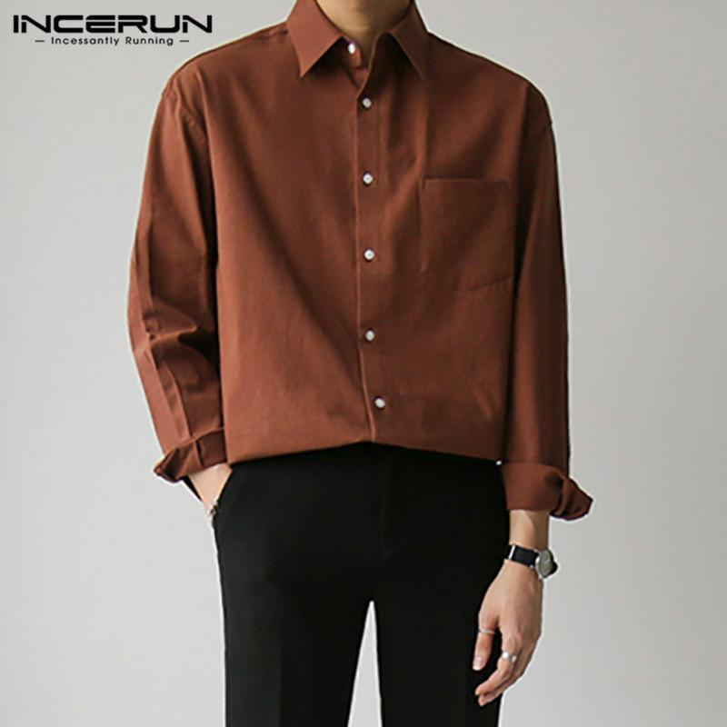 INCERUN Men Shirts Solid Color Turn Down Collar Blouse Fashion Buttons Dress Shirts Spring Male Loose Pockets Camisa Plus Size