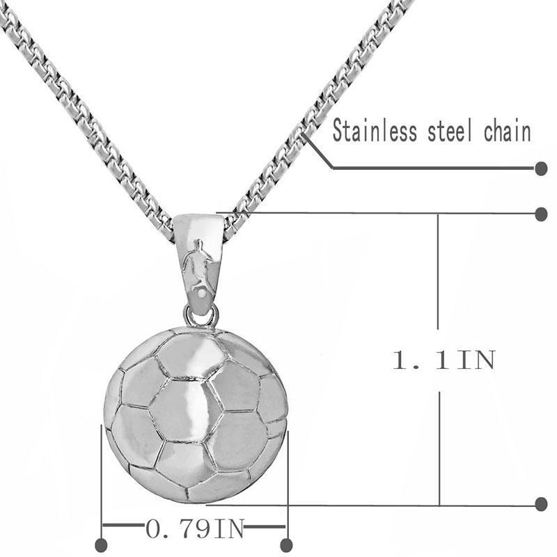Football Pendant Necklace Men Alloy + Stainless Steel Chain Soccer Ball Hippie Necklace Male Sports Silver