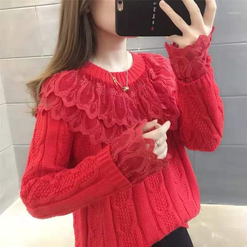 Spitze Nähen Pullover Frauen rot 2020 Frühling Neue Frauen Lose-passende Pullover Frauen Herbst und Winter TIDE1