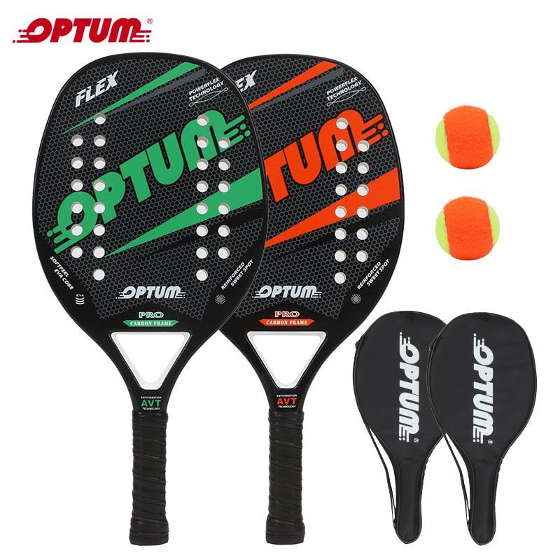 مجموعة مضرب تنس الشاطئ مجموعة Optum Flex Beach Tennis Racket / Baddle Tennis Set، 2 المجاذيف، 2 كرات، و 2 أكياس الغطاء. Q1202.