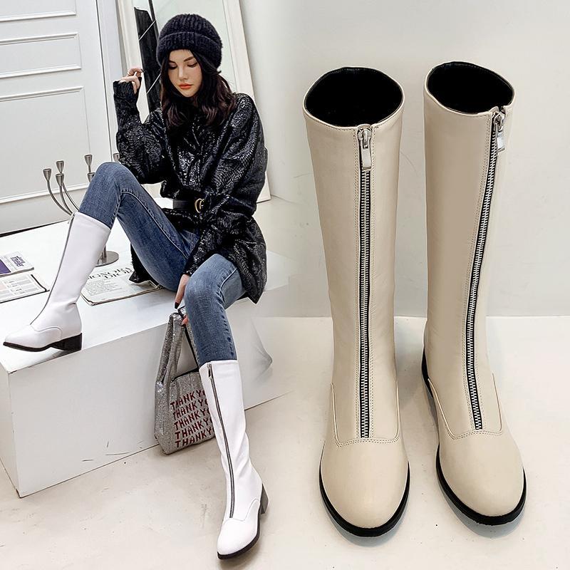 2021 Hot Mid-bezerro Tamanho 22-28 Em Superfinia Fibra Frontal Botas para Mulheres Winter Shoes Go1t
