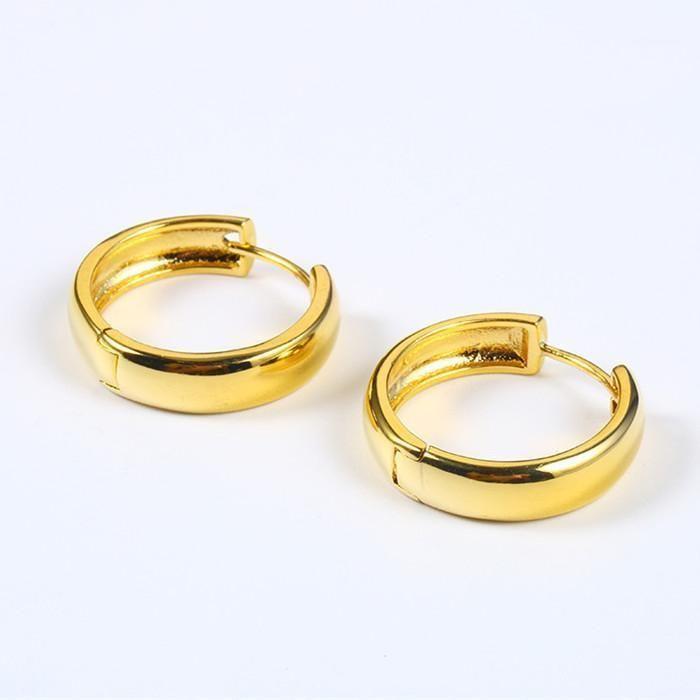 المرأة عادي هوب أقراط الذهب الأصفر الذهب شغل الحد الأدنى دائرة صغيرة مستديرة huggies أقراط عيد الأم هدية 1
