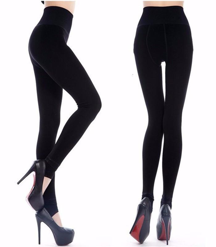 Mantenha o tornozelo das mulheres quentes, além de leggings de inverno de veludo quente calças sólidas cintura alta carregam nádega tamanho grande mulheres lexhqio0