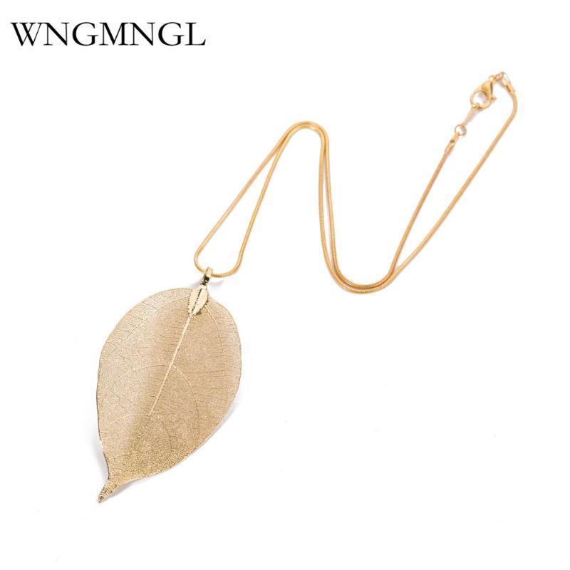 WNGMNGL Moda color oro cadena cadena collar de gargantillas de hojas especiales clásicas de hojas de hoja colgante colgante para mujer joyería