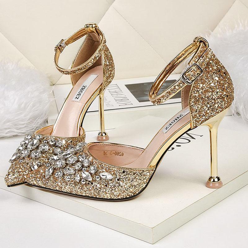 Mulheres verão 9.5cm salto alto de cristal design de luxo sandálias senhora glitter bling bombas de lantejoulas casamento sandles nupcial cinta sapatos