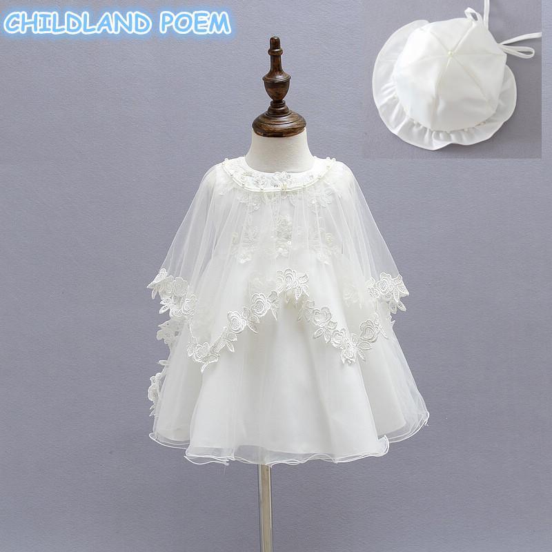 Vestido de bautismo del bautismo de la niña vestido de bautizo de encaje Pearl princess 1 año fiesta de cumpleaños vestido de bebé con sombrero 3 pcs / set ropa F1218