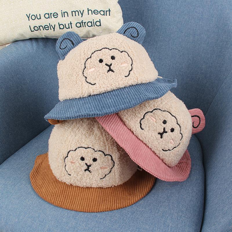 Chapeau bébé automne et hiver nouveau mignon super mignon dessin animé petit mouton bébé pêcheur chapeau chapeau chaleur chaud