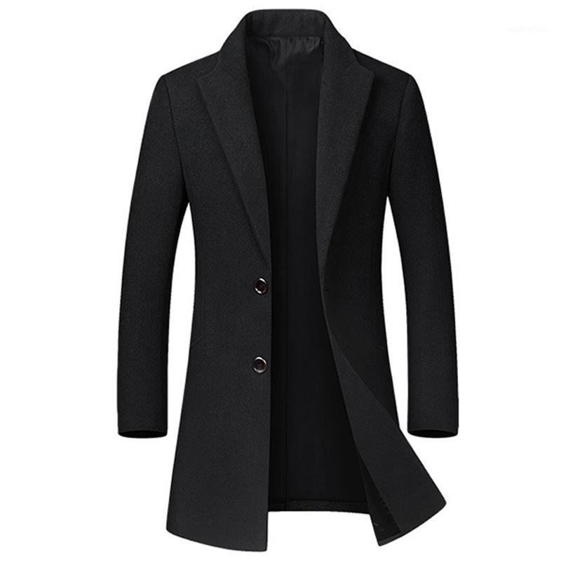 Lana de los hombres mezcla de chaquetas de invierno de alta calidad Hombres Casual delgado Outwear Abrigo negro Casaco Masculino Largo Trench Coat1