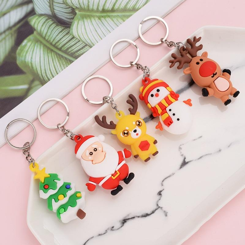 Christmas Tree Pendant Santa Claus Elk Key Chain Cute Little Gift PVC Safety Material Children Gift Couple Gift DHL Free Shipping