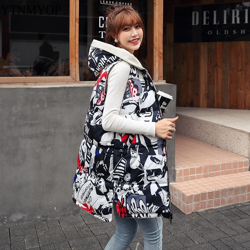 YTNMYOP Kış Yelek Kadınlar Uzun Baskı Yelek Iki Taraf Kapüşonlu Yelek Giyebilir Jile Pamuk Yastıklı Kolsuz Ceket Coat Tops 201031