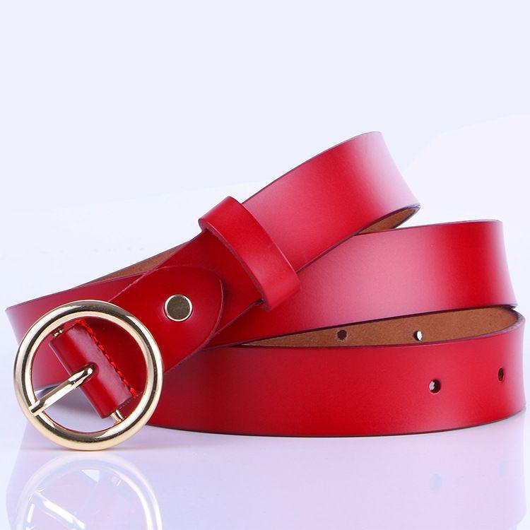 Cintura in pelle da donna Fashion Retro Pure Cowhart in pelle Versatile Round Fibbia in pelle Cinture in pelle di alta qualità Tempo libero cinture morbide NM 20121424DQ