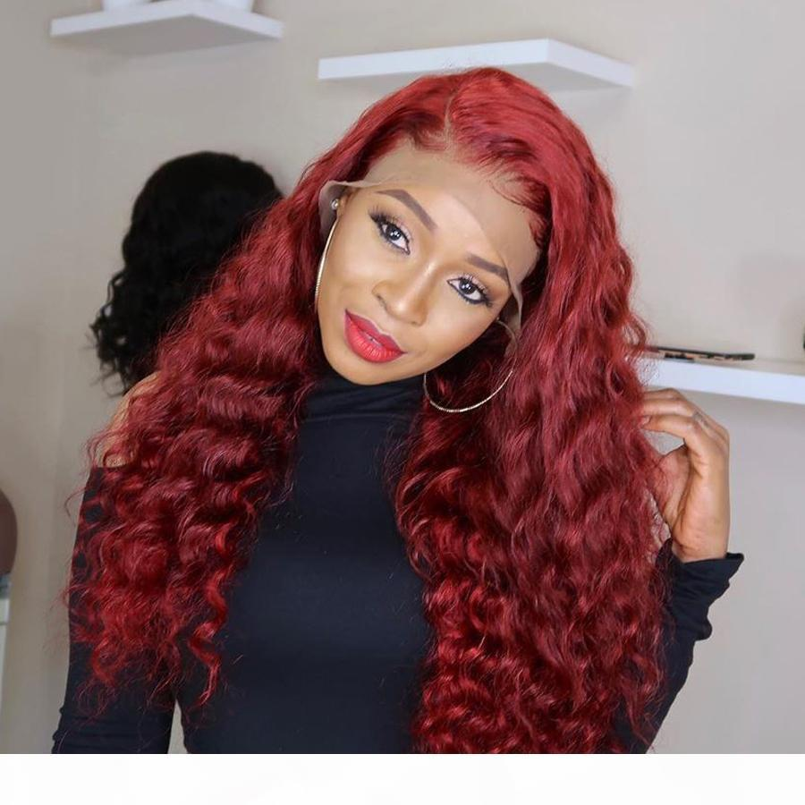 Натуральная волна красные кружева фронт человеческих волос парики волос с волосами для волос младенца 180dence Pretucked кружевные парики для черных женщин REMY