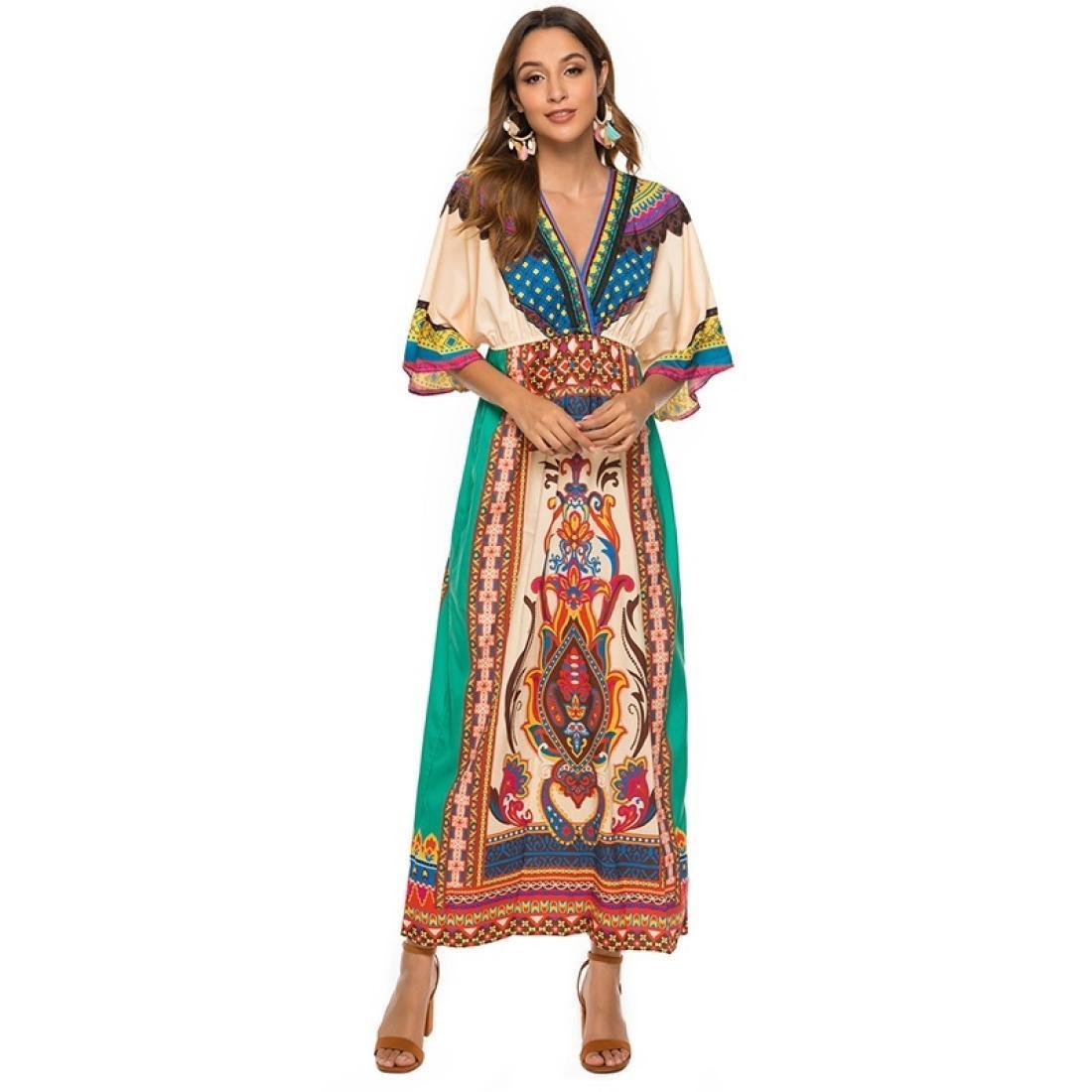 Богемное печать платье национальный ветер пляж юбка приморская юбка