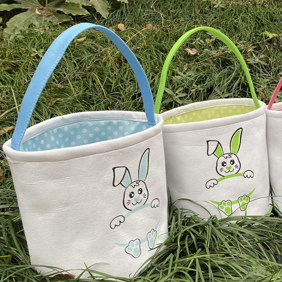 Easter Basket DIY Basket Cute Bunny Smile Rabbit Easter Cartoon Totes Storage Bag Candy Gift Bag Bucket Egg Canvas LLA127 Titia