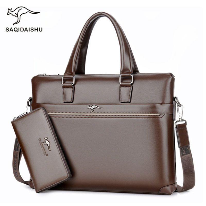 men's Briefcase Business laptop bag 2019 Leather Bags Computer Handbag office for men maletines Q0112