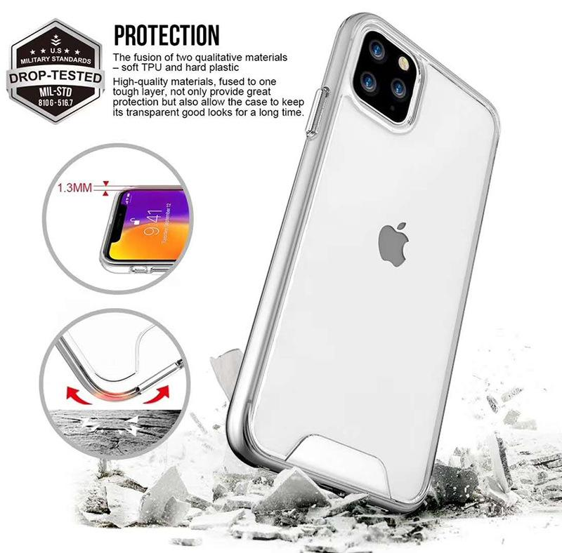 Тонкая четкая Crystal Rubber TPU + чехол на ПК для iPhone 11 12 Pro XS Max Mini 6S 7 8 плюс