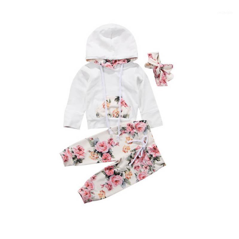 Yenidoğan Bebek Kız Giysileri 2020 Bahar Beyaz Hoodies Bebek Seti Uzun Kollu Üst Pantolon Kafa Kız Kıyafet Roupa Infantil1