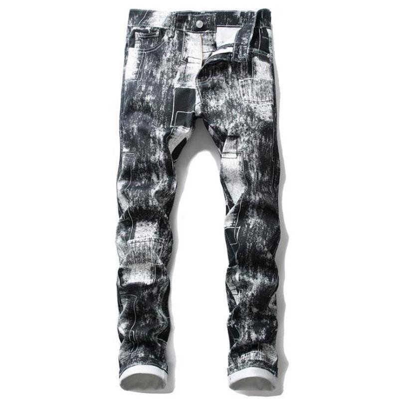 Jeans maschili Arrivo Uomo Nightclub Fashion Pantaloni dritti Pantalon maschio Pantalon Hombre di alta qualità Soft slim fit stampa pantaloni denim